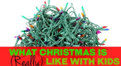 Tangled mess of multicolored christmas lights