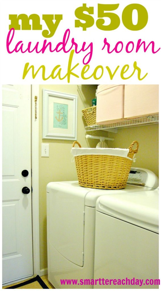 $50 Laundry Room Makeover - Step-by-step with practical tips for a FRUGAL laundry makeover. I did this in one weekend!