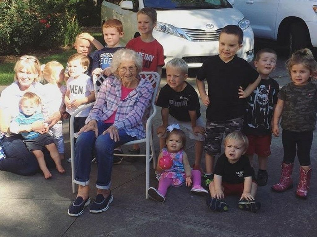 Great-Grammy on her 88th birthday with some of her great-grandchildren. Grammy has 7 kids, 24 grandkids, and 27 great-grandkids (I think! I lost count! Ha!)